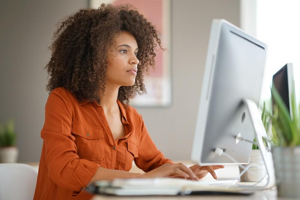 Woman on desktop